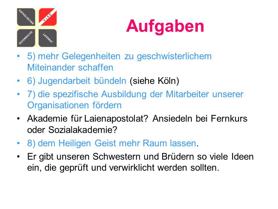 Aufgaben 5) mehr Gelegenheiten zu geschwisterlichem Miteinander schaffen. 6) Jugendarbeit bündeln (siehe Köln)