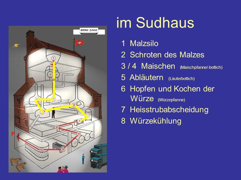 im Sudhaus 1 Malzsilo 2 Schroten des Malzes