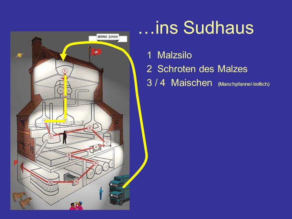 …ins Sudhaus 1 Malzsilo 2 Schroten des Malzes