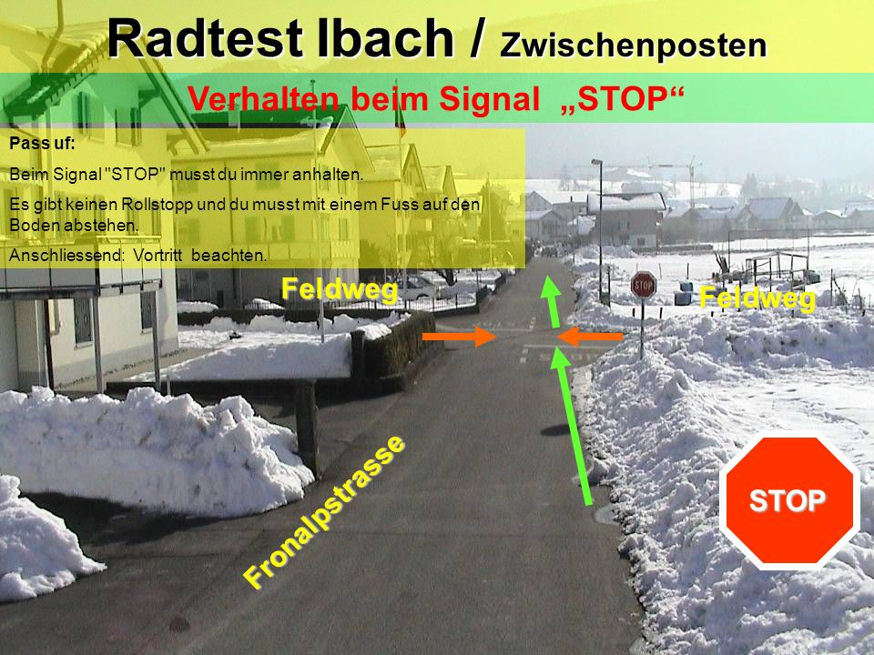 """Radtest Ibach / Zwischenposten Verhalten beim Signal """"STOP"""