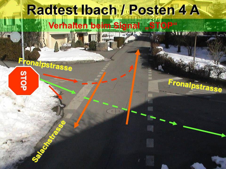 """Radtest Ibach / Posten 4 A Verhalten beim Signal """"STOP"""