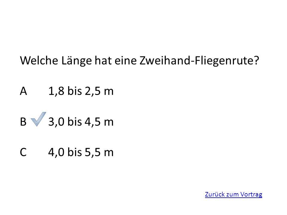 Welche Länge hat eine Zweihand-Fliegenrute A 1,8 bis 2,5 m