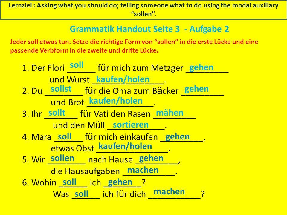 Grammatik Handout Seite 3 - Aufgabe 2