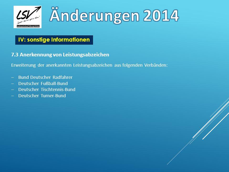 Änderungen 2014 IV: sonstige Informationen
