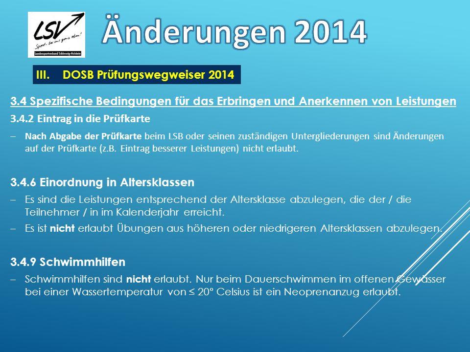 Änderungen 2014 DOSB Prüfungswegweiser 2014
