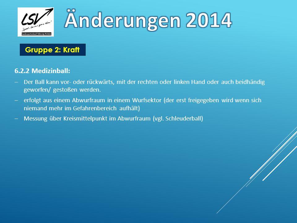 Änderungen 2014 Gruppe 2: Kraft 6.2.2 Medizinball: