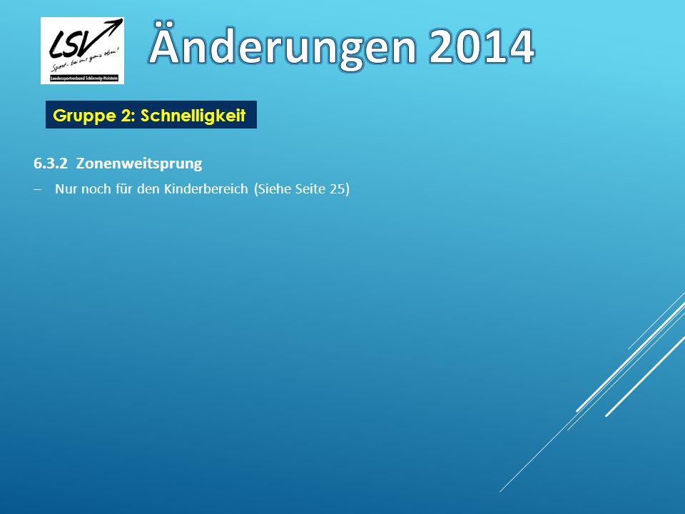 Änderungen 2014 Gruppe 2: Schnelligkeit 6.3.2 Zonenweitsprung