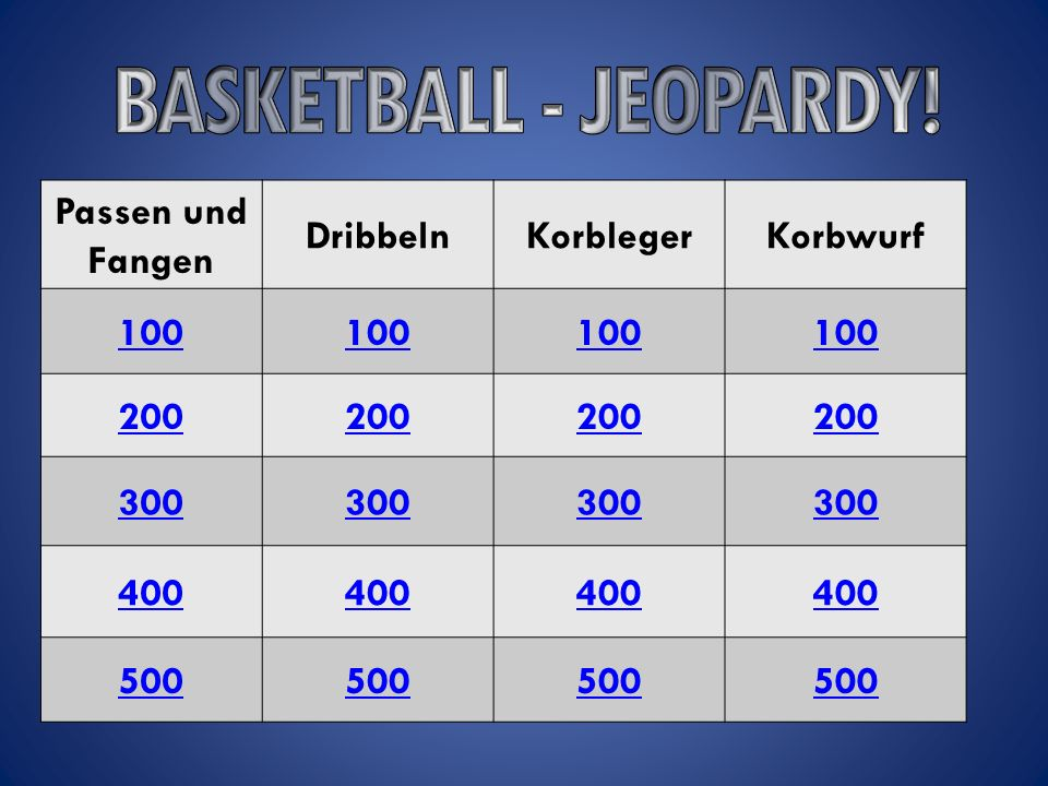 BASKETBALL - JEOPARDY! Passen und Fangen Dribbeln Korbleger Korbwurf