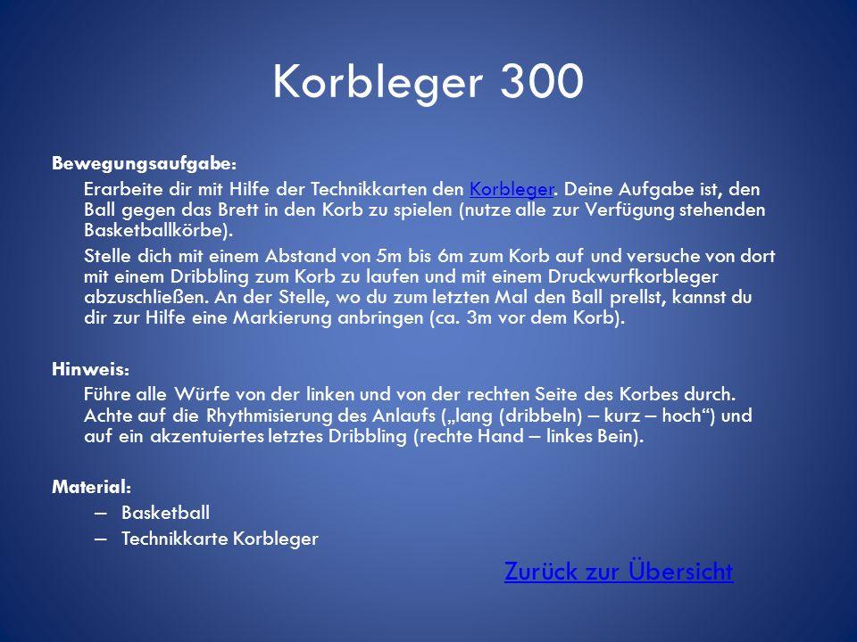 Korbleger 300 Zurück zur Übersicht Bewegungsaufgabe: