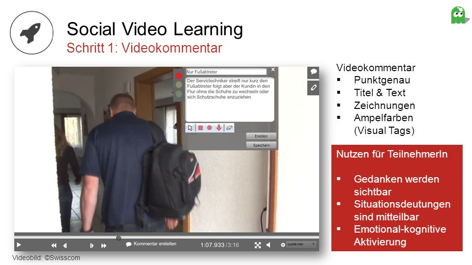 Social Video Learning Schritt 1: Videokommentar Videokommentar