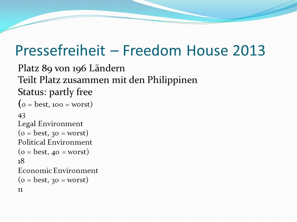 Pressefreiheit – Freedom House 2013