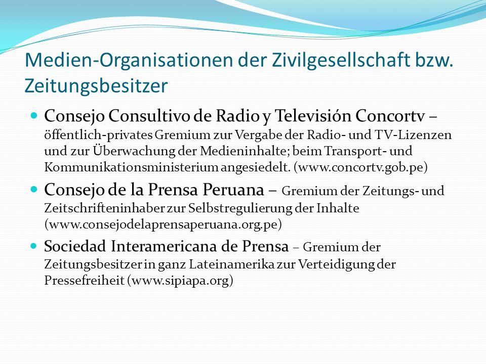 Medien-Organisationen der Zivilgesellschaft bzw. Zeitungsbesitzer