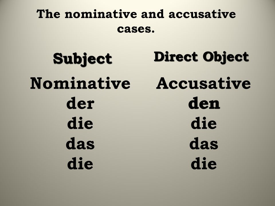The nominative and accusative cases.