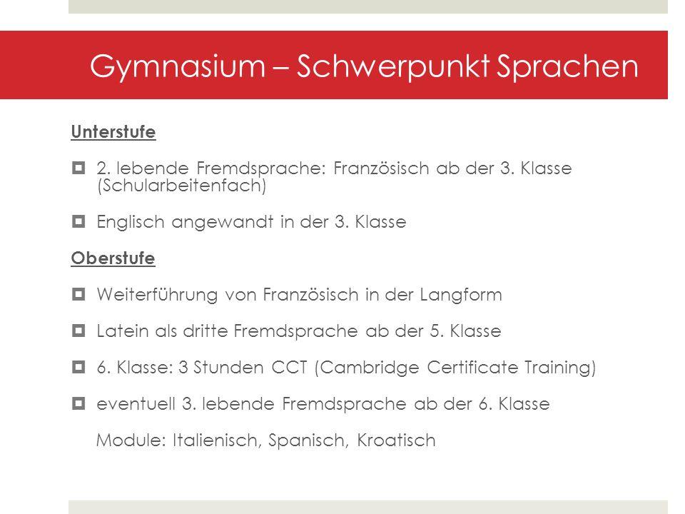 Gymnasium – Schwerpunkt Sprachen