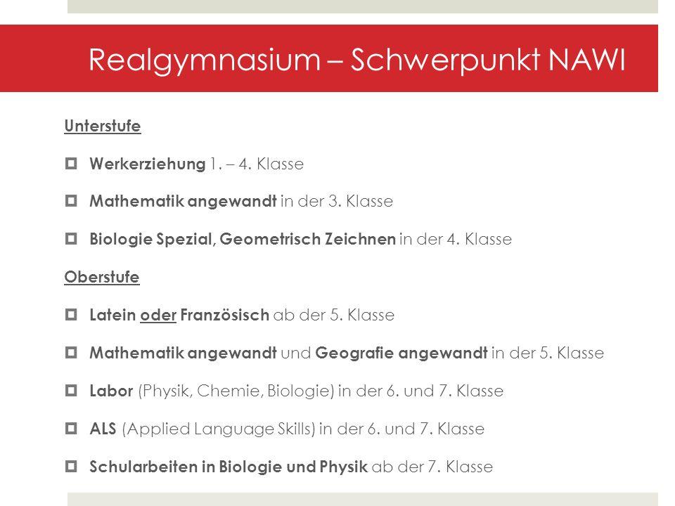 Realgymnasium – Schwerpunkt NAWI