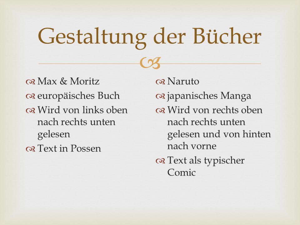 Gestaltung der Bücher Max & Moritz europäisches Buch