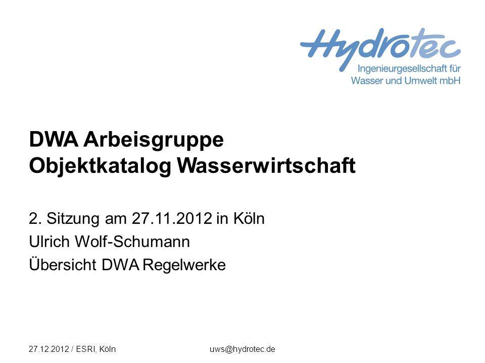DWA Arbeisgruppe Objektkatalog Wasserwirtschaft