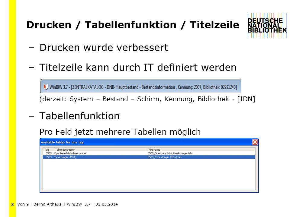 Drucken / Tabellenfunktion / Titelzeile