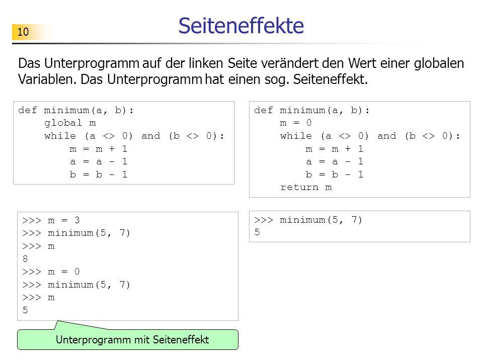 Unterprogramm mit Seiteneffekt