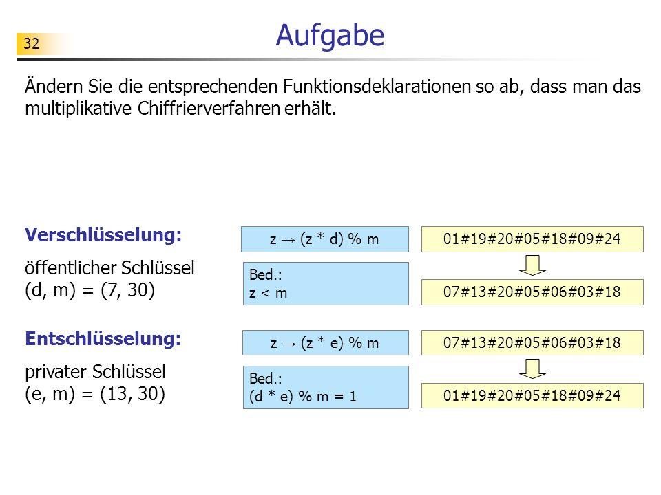 Aufgabe Ändern Sie die entsprechenden Funktionsdeklarationen so ab, dass man das multiplikative Chiffrierverfahren erhält.