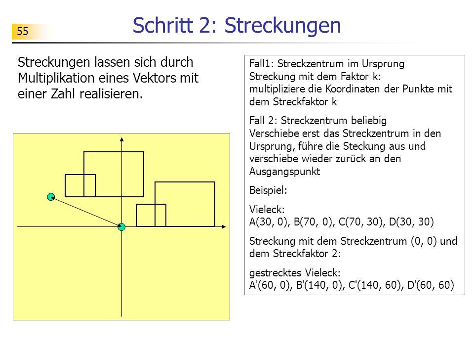 Schritt 2: Streckungen Streckungen lassen sich durch Multiplikation eines Vektors mit einer Zahl realisieren.