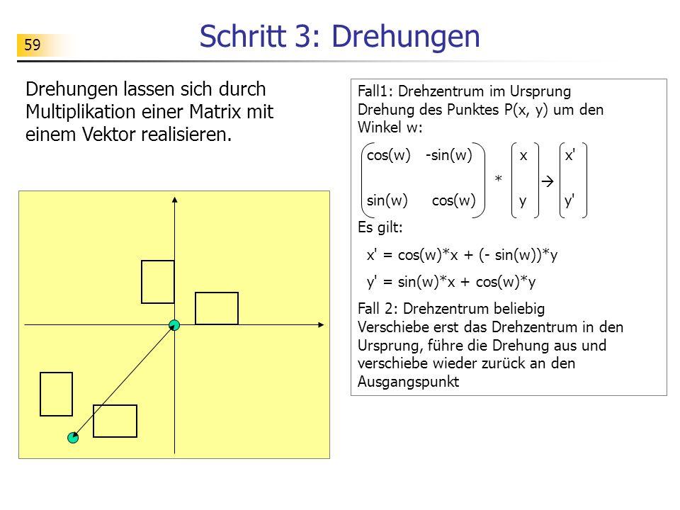 Schritt 3: Drehungen Drehungen lassen sich durch Multiplikation einer Matrix mit einem Vektor realisieren.