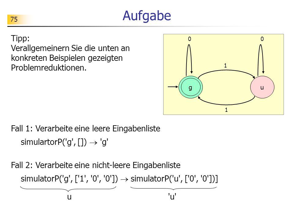 Aufgabe Tipp: Verallgemeinern Sie die unten an konkreten Beispielen gezeigten Problemreduktionen. 1.