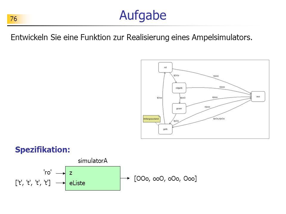 Aufgabe Entwickeln Sie eine Funktion zur Realisierung eines Ampelsimulators. Spezifikation: simulatorA.