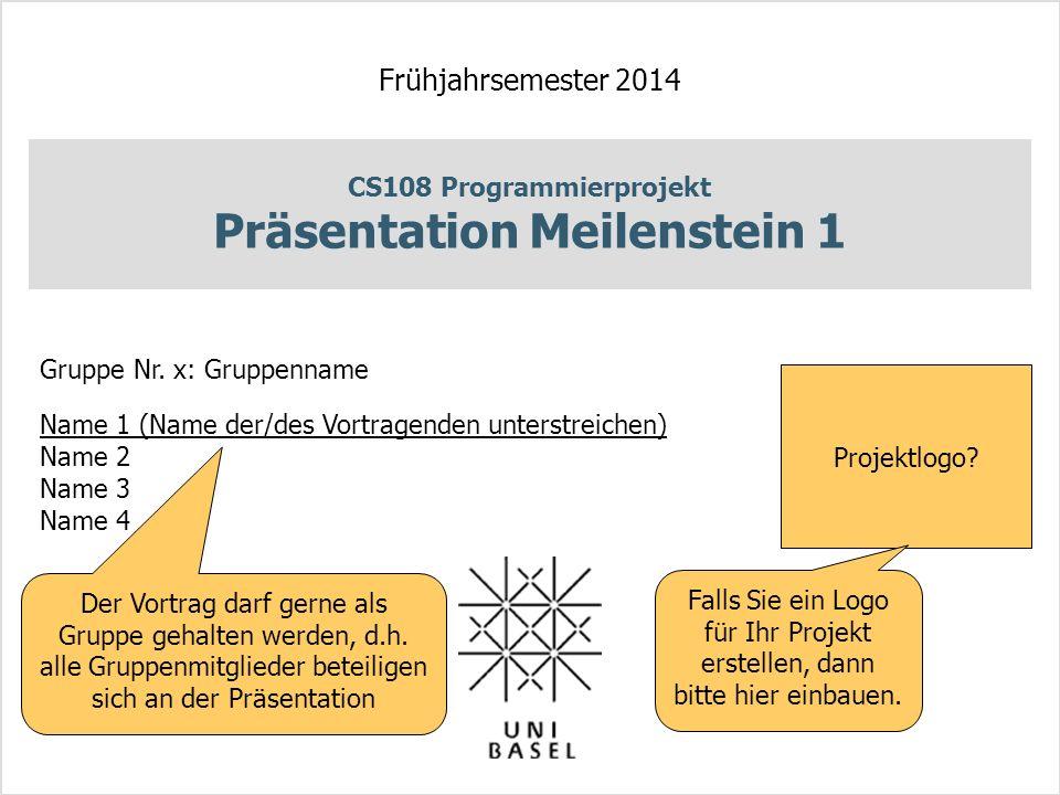 CS108 Programmierprojekt Präsentation Meilenstein 1