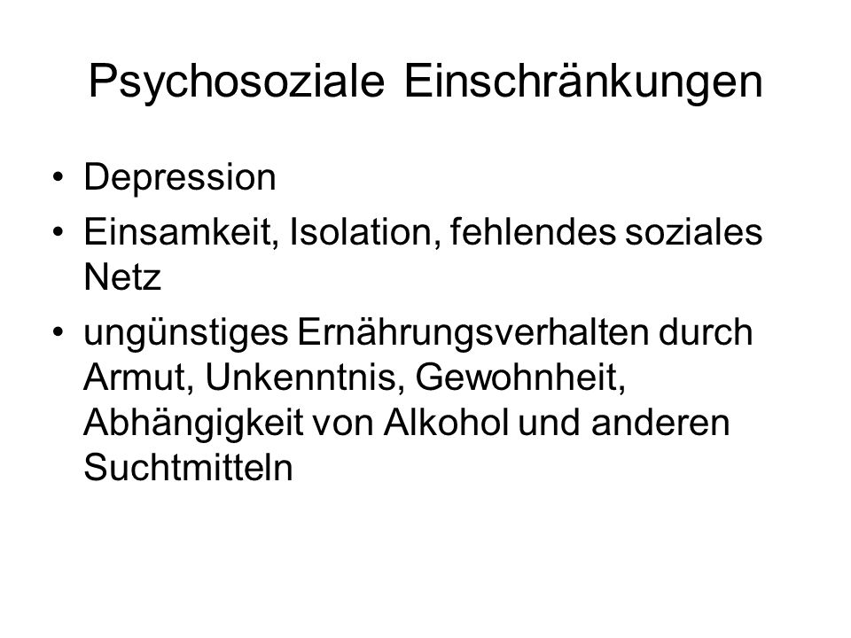 Psychosoziale Einschränkungen