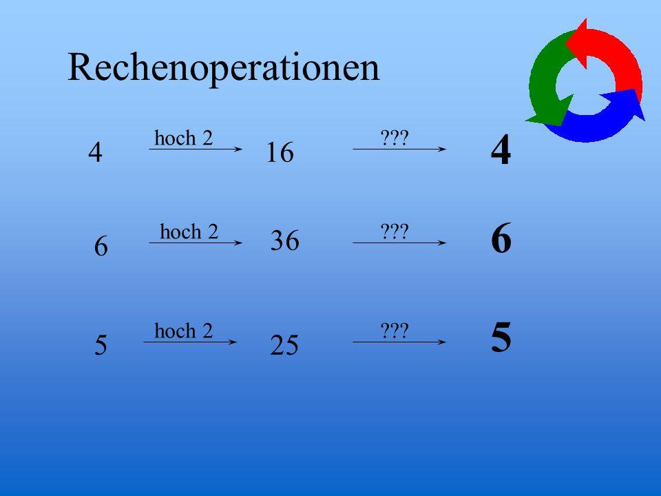 4 6 5 Rechenoperationen 4 16 36 6 5 25 hoch 2 hoch 2 hoch 2
