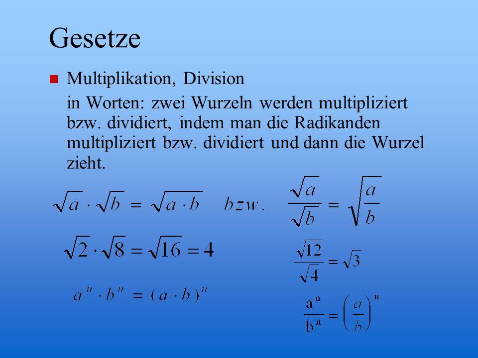Gesetze Multiplikation, Division