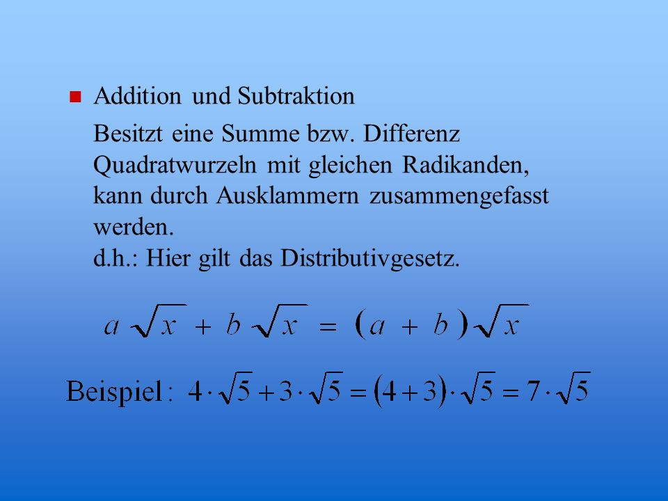 Addition und Subtraktion