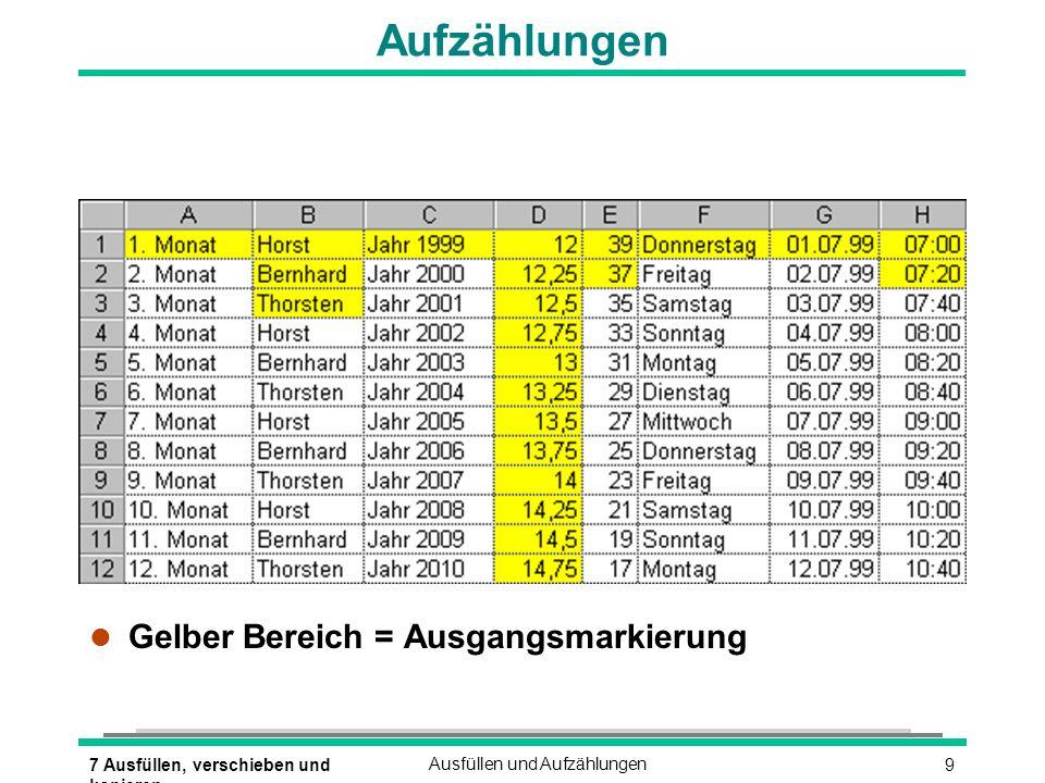 Aufzählungen Gelber Bereich = Ausgangsmarkierung