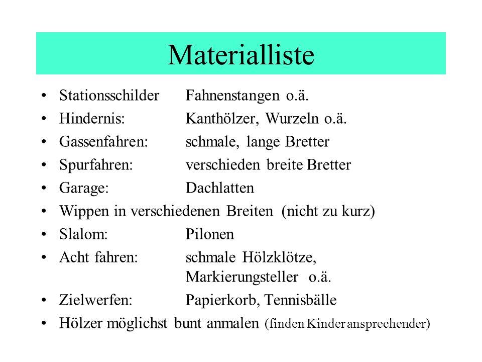 Materialliste Stationsschilder Fahnenstangen o.ä.