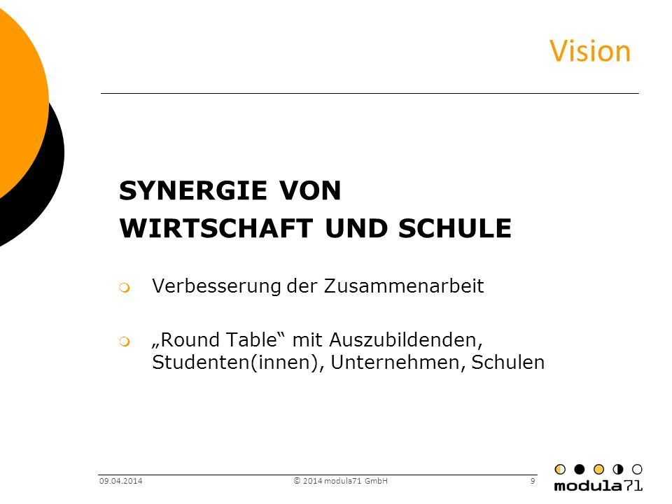 Vision Synergie von Wirtschaft und schule