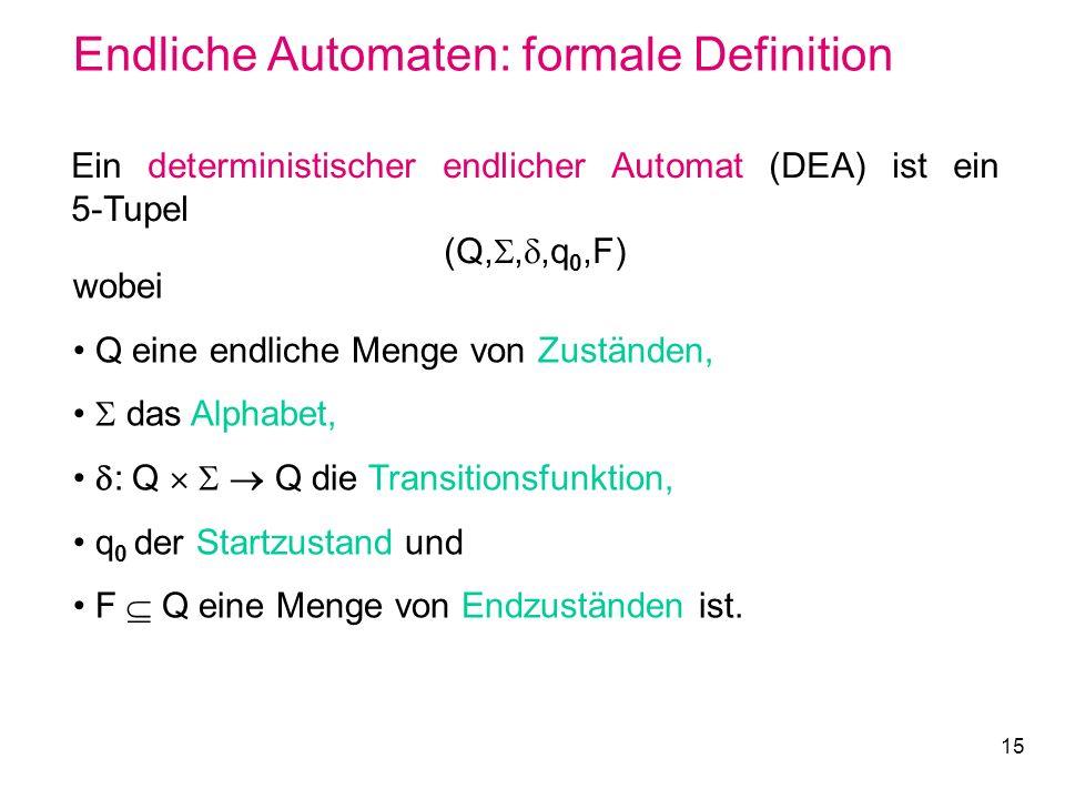 Endliche Automaten: formale Definition