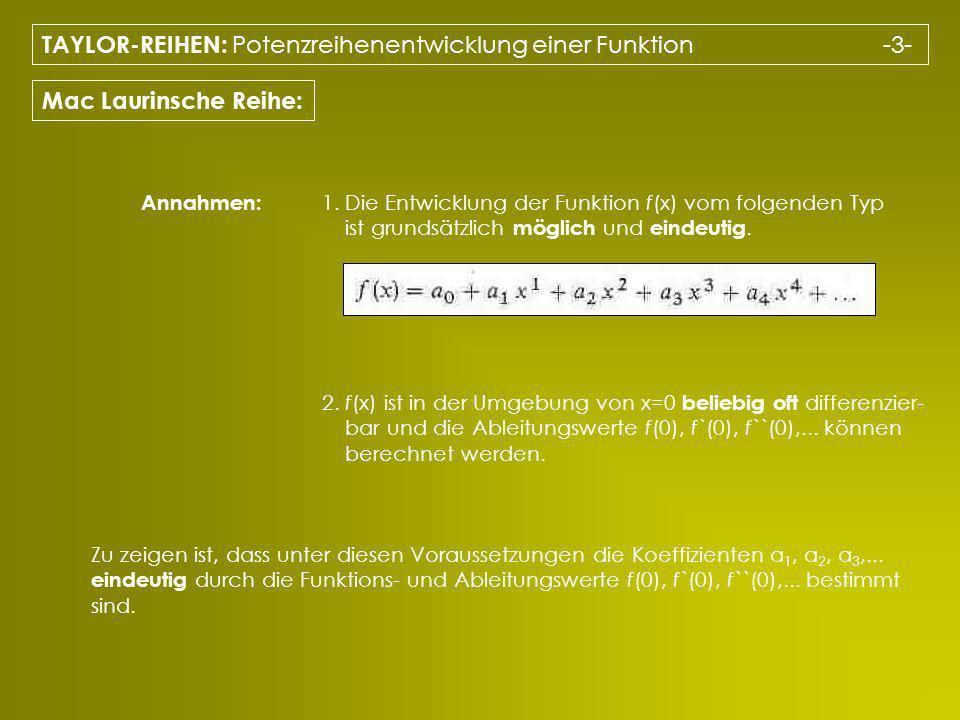 TAYLOR-REIHEN: Potenzreihenentwicklung einer Funktion -3-