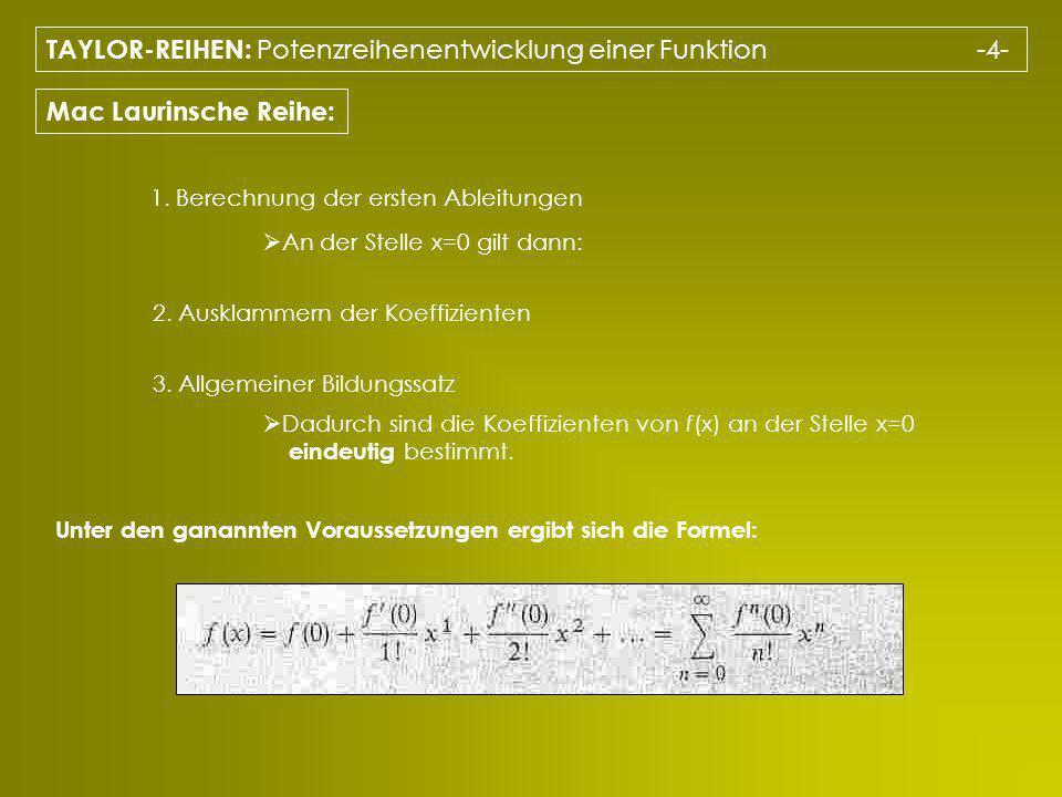 TAYLOR-REIHEN: Potenzreihenentwicklung einer Funktion -4-