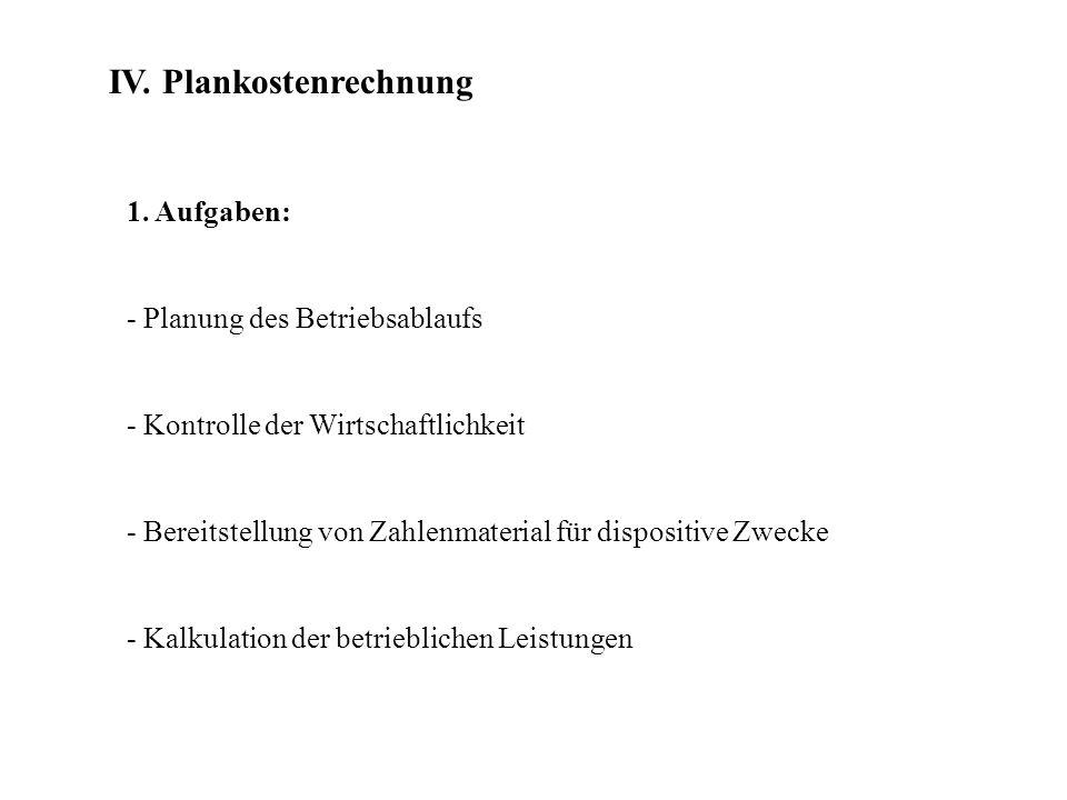 IV. Plankostenrechnung