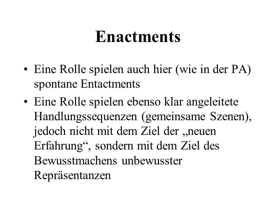 Enactments Eine Rolle spielen auch hier (wie in der PA) spontane Entactments.