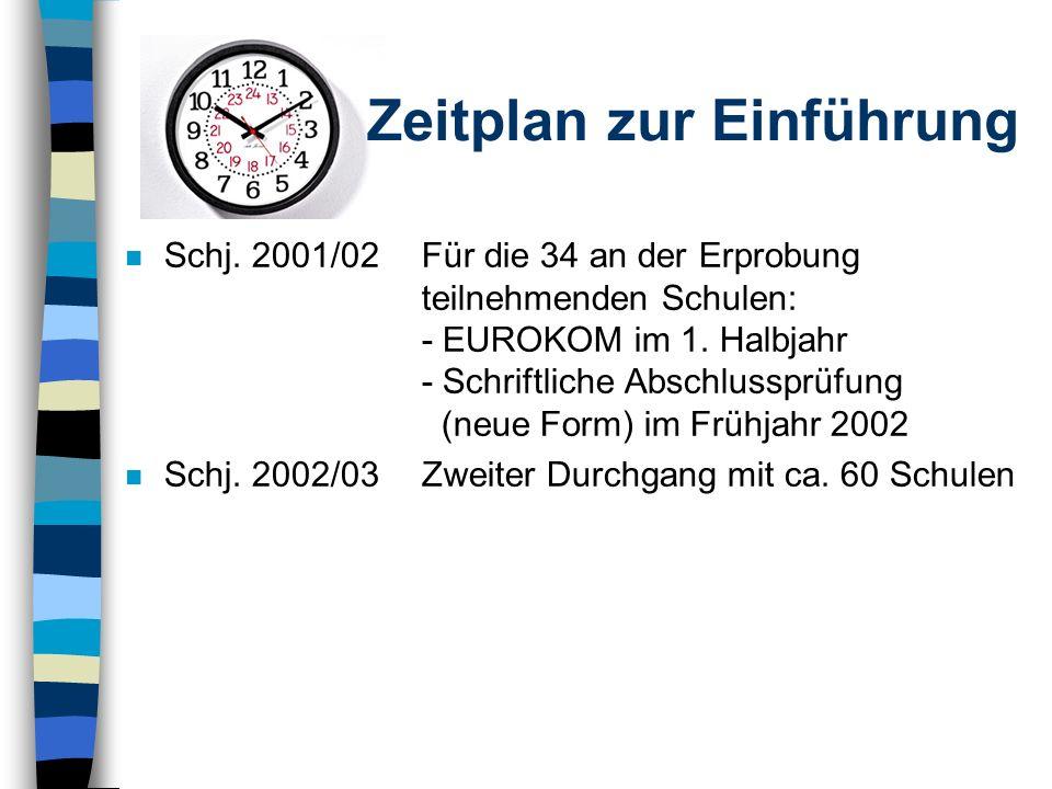 Zeitplan zur Einführung