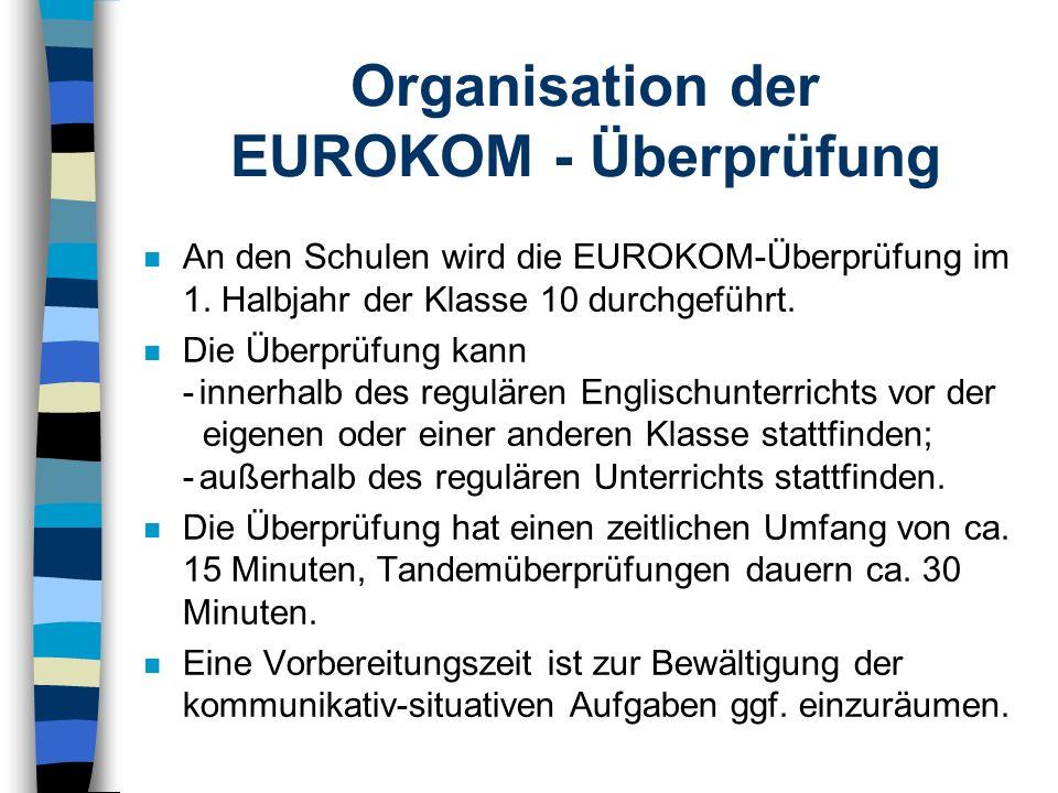 Organisation der EUROKOM - Überprüfung