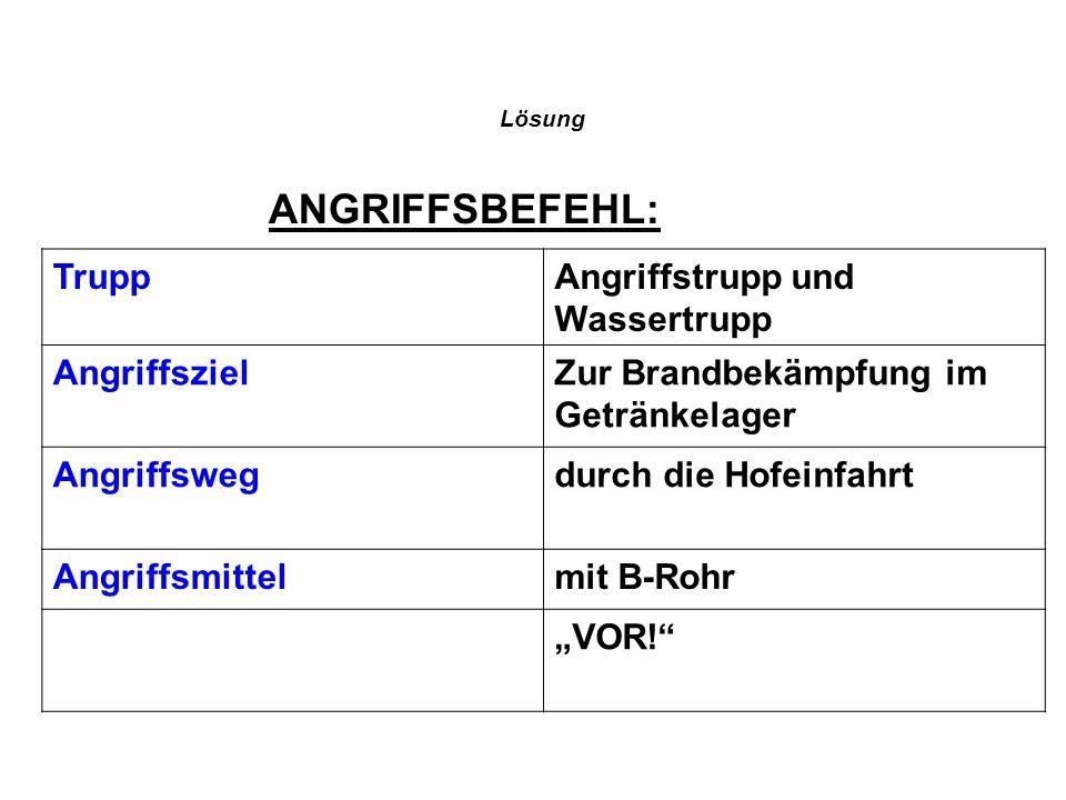 ANGRIFFSBEFEHL: Trupp Angriffstrupp und Wassertrupp Angriffsziel