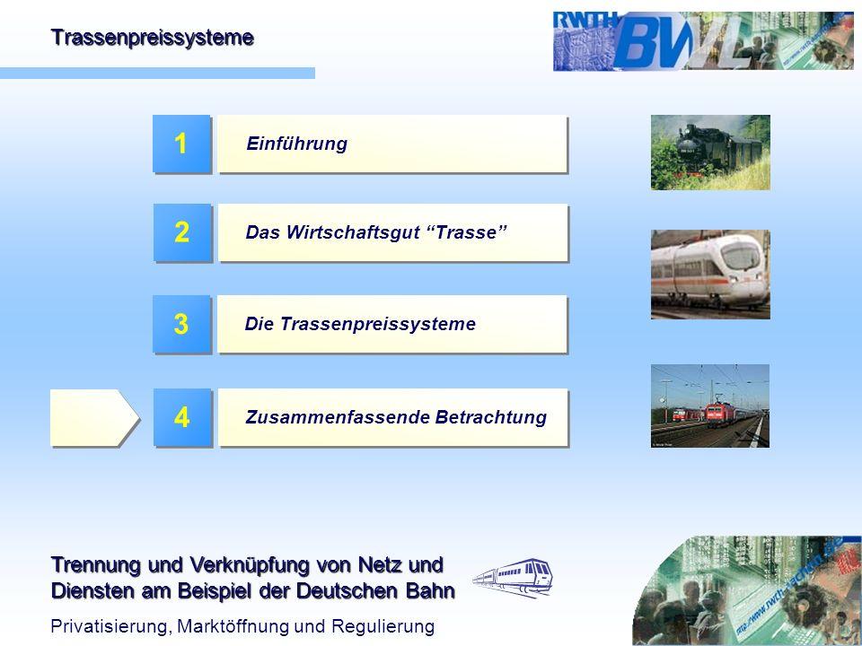 1 2 3 4 Trassenpreissysteme Einführung Das Wirtschaftsgut Trasse