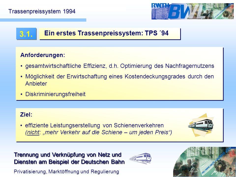 3.1. Ein erstes Trassenpreissystem: TPS ´94 Trassenpreissystem 1994