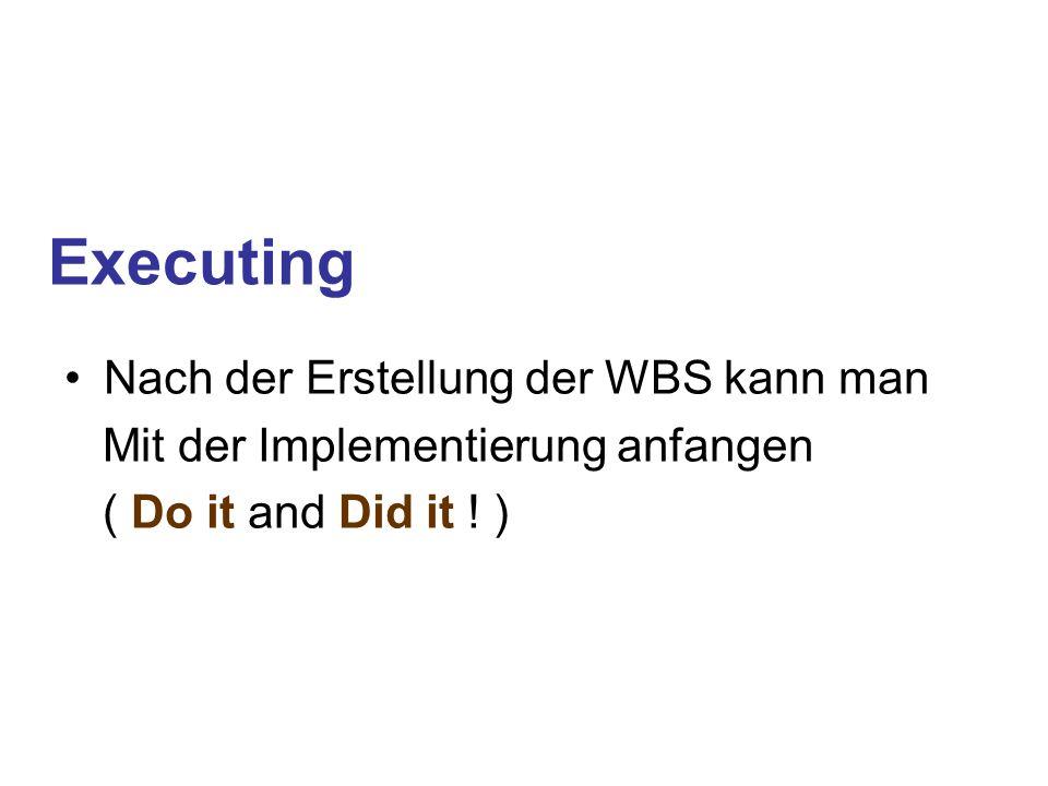 Executing Nach der Erstellung der WBS kann man