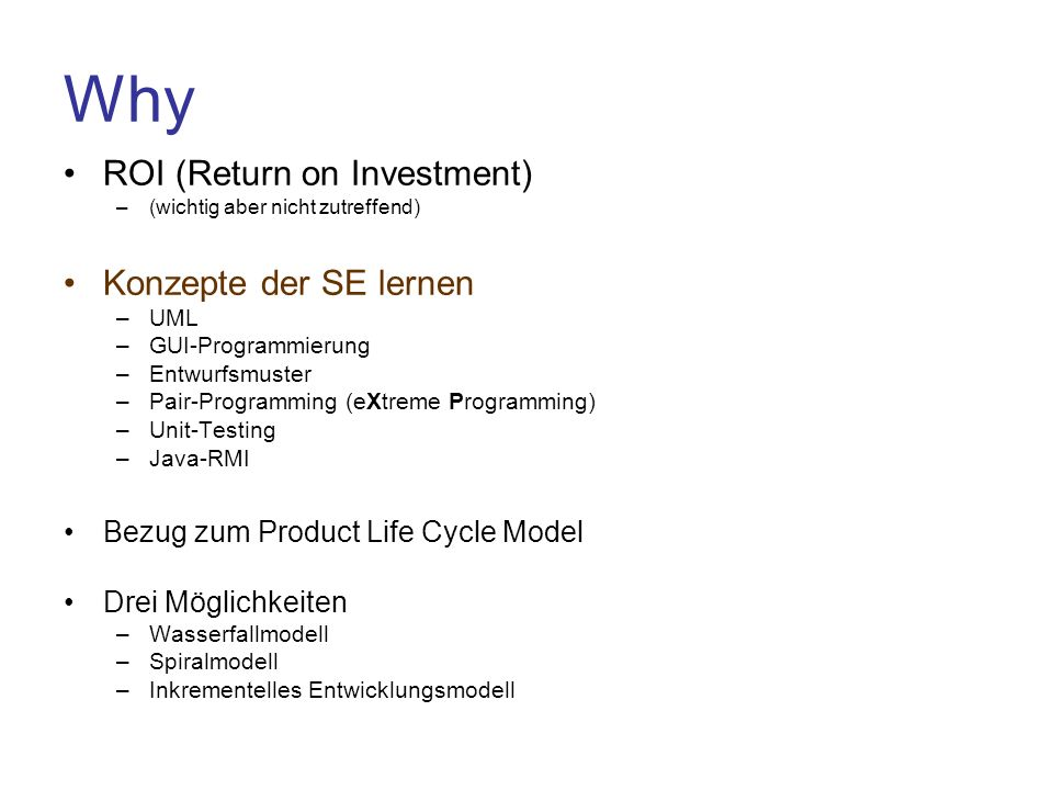 Why ROI (Return on Investment) Konzepte der SE lernen