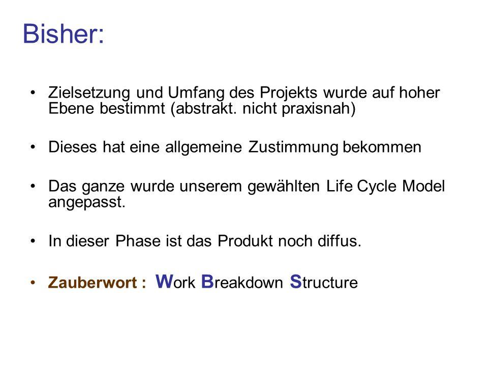Bisher: Zielsetzung und Umfang des Projekts wurde auf hoher Ebene bestimmt (abstrakt. nicht praxisnah)