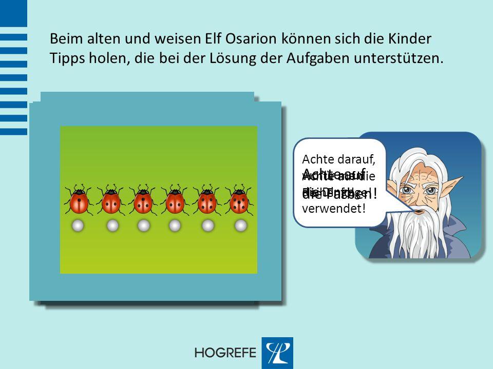 Beim alten und weisen Elf Osarion können sich die Kinder Tipps holen, die bei der Lösung der Aufgaben unterstützen.